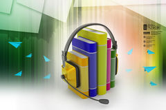 Audio book concept with headphones and books Royalty Free Stock Photos
