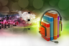 Audio book concept with headphones and books. In color background Stock Photography