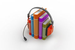 Audio book concept with headphones and books Stock Photo