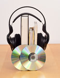Audio Book Concept Image. With Books, CD's and Headphones Stock Photos