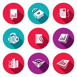 Audio book flat icons set Royalty Free Stock Photos