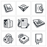 Audio book icon collection Royalty Free Stock Photo