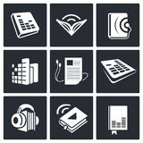 Audio book icons set Stock Image