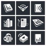 Audio book icons set Stock Image