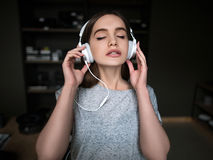Free Audio Book Listening. Beautiful Young Music Lover Stock Photography - 98287632