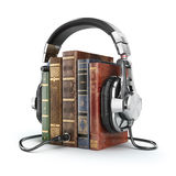 Audio books concept. Vintage books and headphones. Royalty Free Stock Image