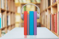 Audio Books. Equipment Sound Music Library Audiobook e-learning Stock Photo