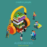 Audio books flat 3d vector electronic library: books headphones Royalty Free Stock Photos