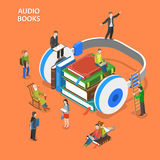 Audio books isometric flat vector concept. Royalty Free Stock Photography