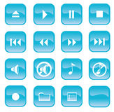 Audio Buttons. An illustration of 16 audio buttons in a light blue color Royalty Free Stock Images