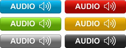 Audio buttons colorful on white. Audio web buttons colorful on white background - vector illustration - rounded corner square stock illustration