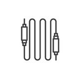 Audio cable line icon, outline vector sign, linear style pictogram isolated on white. Stock Images