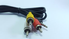 Audio cable, video on analog television. Yellow for vide, red and white for audio stock photo