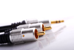 Audio cables. On the white background - closeup Stock Photography