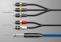 Audio Cables with Plugs. Some audio cables complete with plugs Royalty Free Stock Photography