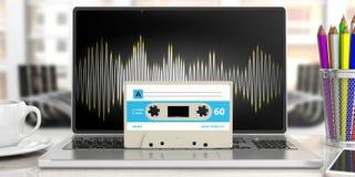 Audio cassetta d'annata, su un computer, fondo di affari della sfuocatura illustrazione 3D Illustrazione Vettoriale