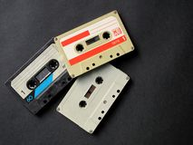 Audio cassette. Three old analog audio cassette stock photos