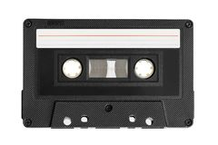 Audio cassette with blank label. Isolated on white background stock image