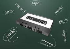 Audio cassette chalkboard Royalty Free Stock Image