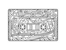 Audio cassette coloring book for adults vector Royalty Free Stock Images