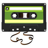 Audio Cassette with damaged tape Royalty Free Stock Photography