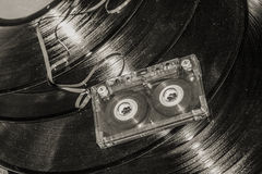 Audio cassette on disc Royalty Free Stock Image