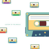 Audio cassette flat vector illustration. Audio cassette flat vector illustration on white background Stock Photo