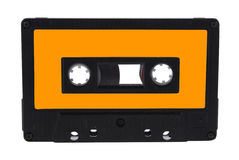 Audio cassette isolated with clipping path. Single black audio cassette and label isolated on white background Royalty Free Stock Photo
