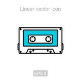 Audio cassette. Linear  icon. Royalty Free Stock Photo
