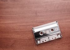 Audio cassette is lying on the table Stock Images