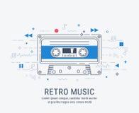 Audio cassette modern line art style. Stock Image