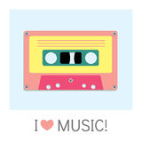 Audio cassette old tape painted in a flat style. Retro and vintage. Stock Photography