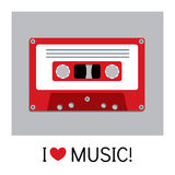 Audio cassette old tape painted in a flat style. Retro and vintage. Royalty Free Stock Images