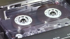 Audio cassette playing stock video footage