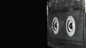 Audio cassette playing until reaches the end. Audio cassette playing until end stock video footage