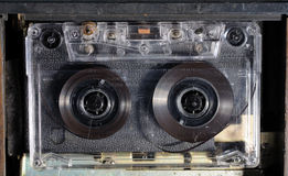 Audio cassette in a recorder Royalty Free Stock Photography