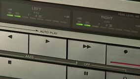 Audio Cassette Recorder. Close up of the control buttons of a audio cassette player stock video