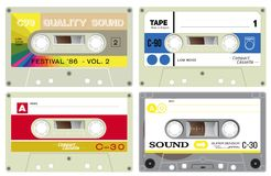 Audio cassette records. Illustration of cassette tapes, on white background. Used in cassette recorders, stereo and mono. Media of past times. Realistic design royalty free illustration