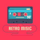 Audio cassette on red background. Retro music 90s. Vector illustration royalty free illustration