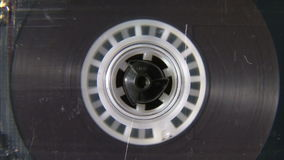 Audio cassette reel playing. Vintage audio cassette reel playing stock video