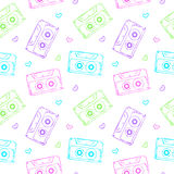 Audio cassette seamless pattern Royalty Free Stock Image