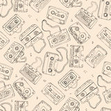 Audio cassette. Seamless pattern. Royalty Free Stock Photography