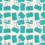 Audio cassette. Seamless pattern. Royalty Free Stock Photos