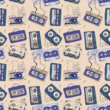 Audio cassette. Seamless pattern. Royalty Free Stock Photo