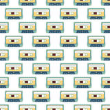 Audio cassette seamless pattern. Audio cassette on white background seamless pattern Royalty Free Stock Photos