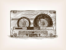 Audio cassette sketch style vector illustration Royalty Free Stock Photos