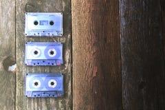 Audio cassette su una tavola di legno Fotografie Stock Libere da Diritti