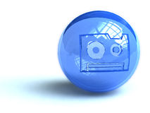 Audio cassette symbol on ball. Illustration of compact audio cassette symbol on spherical blue ball, isolated on white background Royalty Free Stock Photography