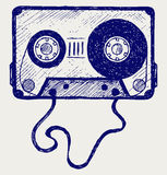 Audio cassette tape. Doodle style Stock Images