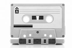 Audio cassette tape, black and white Royalty Free Stock Photography